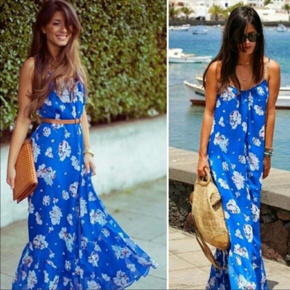 fac4eef8 Zara Dresses | Blue Floral Maxi Dress | Poshmark